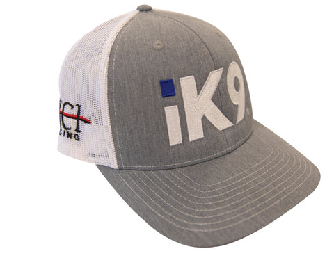 iK9 Trucker Mesh Snap-back Hat, Heather Grey/White
