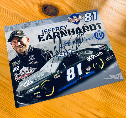 Autographed Jeffrey Earnhardt Hero Card and IV Snapback Trucker Hat