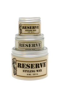 One, two, and Eight ounce containers of King & Country Grooming's RESERVE Matte Styling Wax stacked together. Made in Canada.