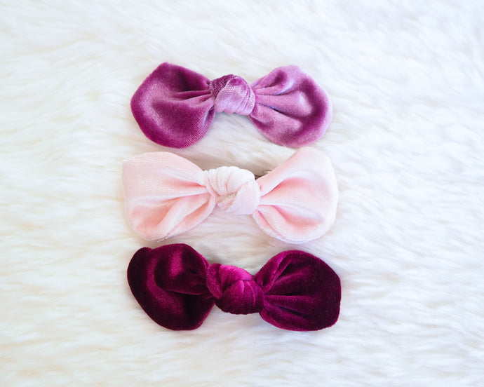 Velvet Fur Bows - Pack of 3