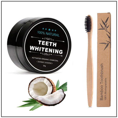 Teeth Whitening Activated Charcoal with Bamboo Toothbrush