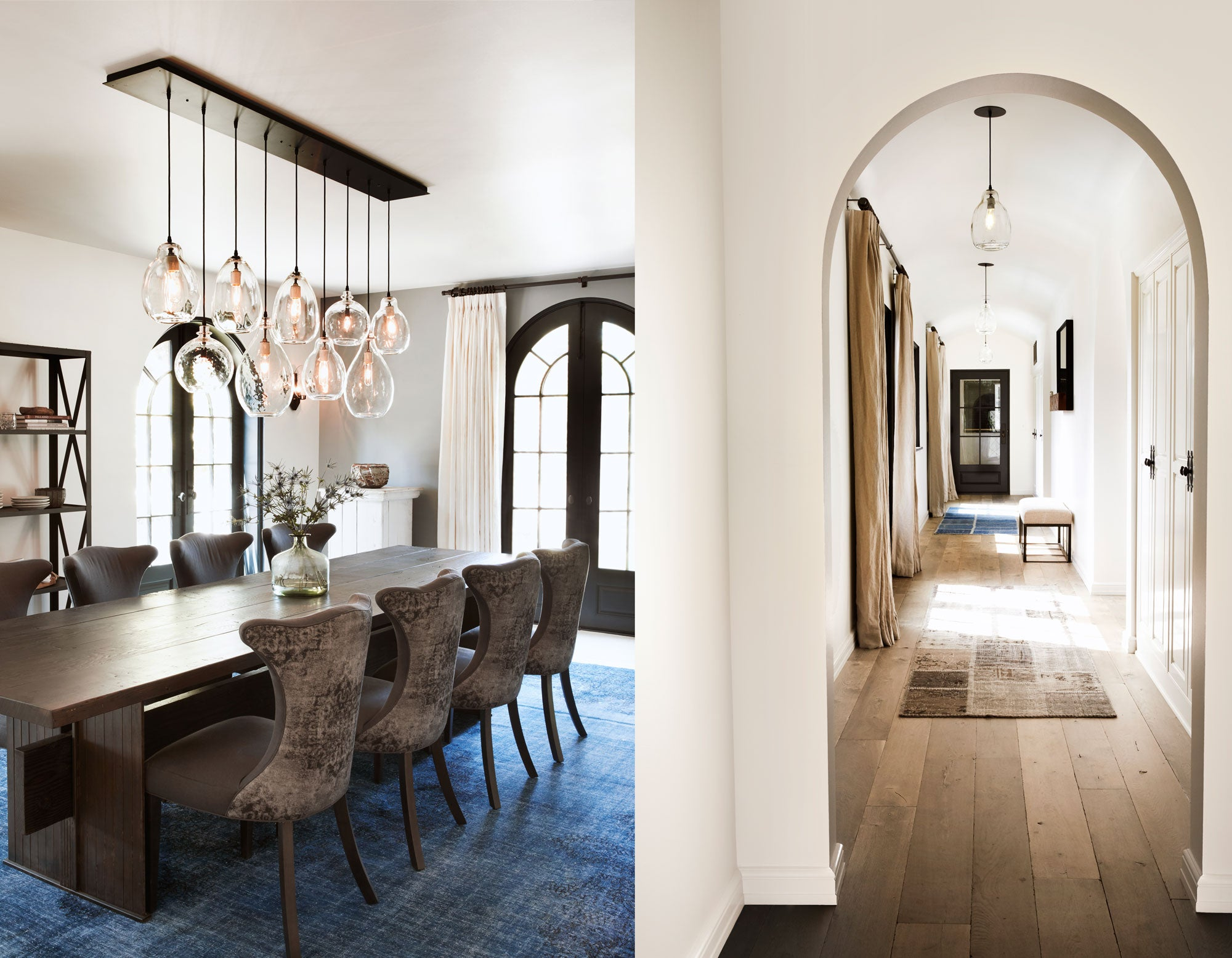 dining table withe glass pendants and a hall way with arches