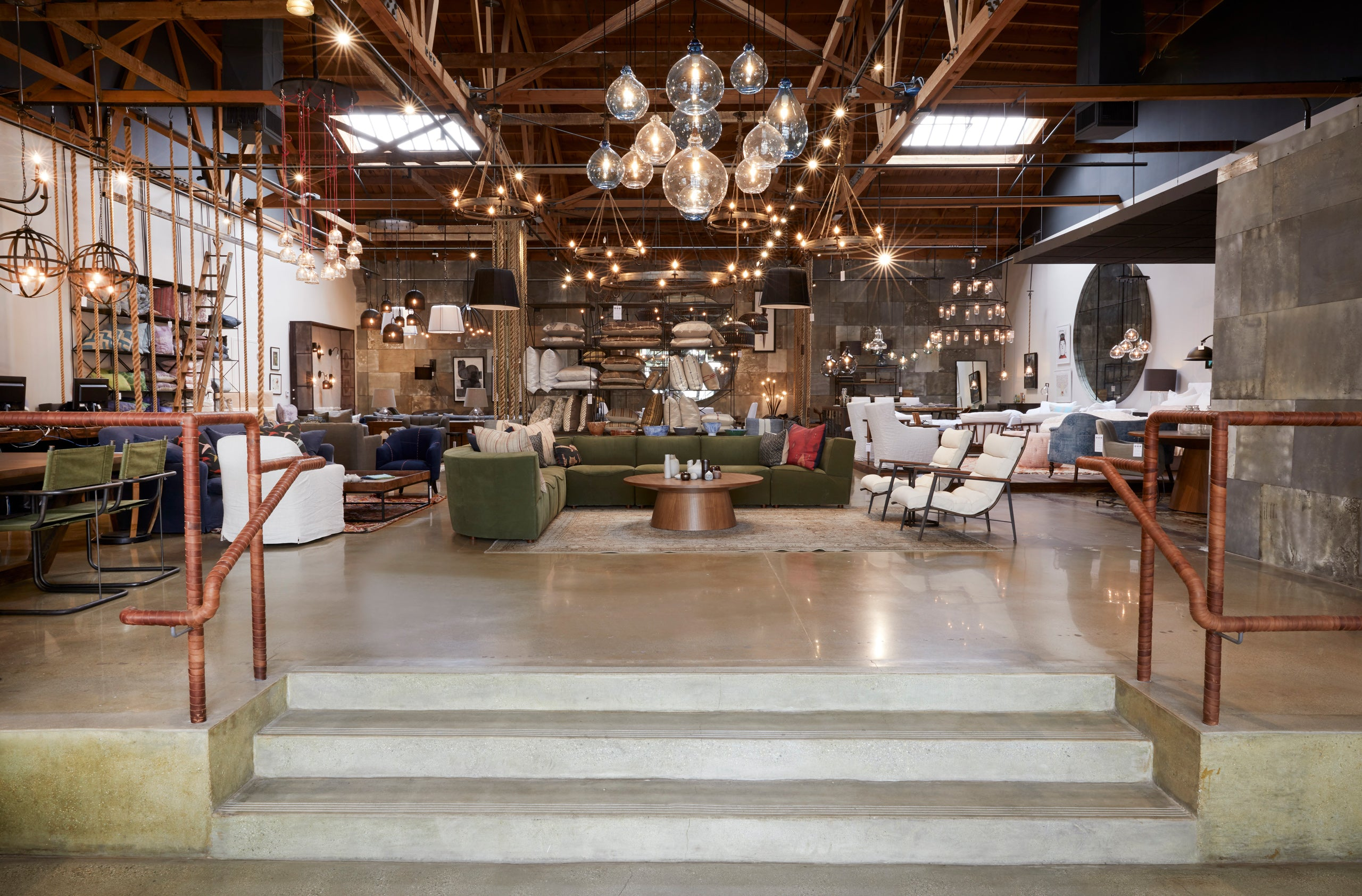 entrance to Culver City Store furniture everywhere and glass pendant lights hanging
