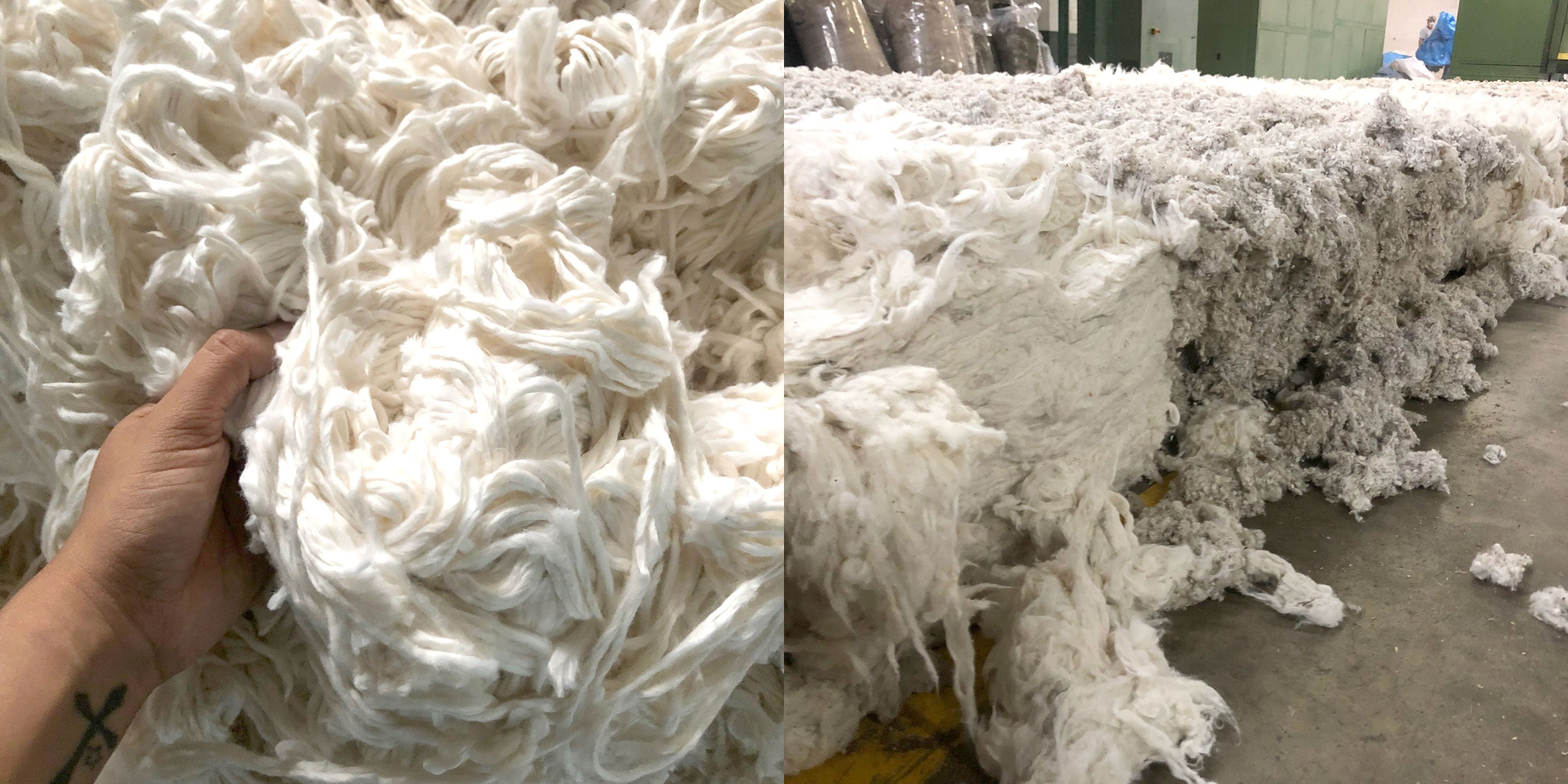 split shot of raw cotton on left and bundles on right