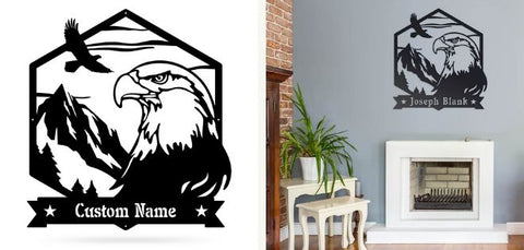 bald eagle monogram wall decor