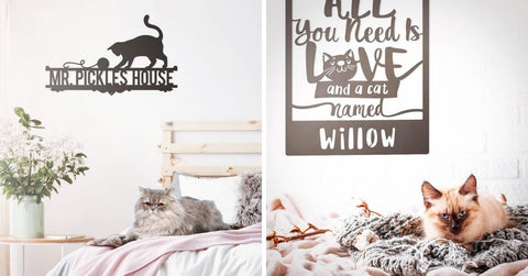 personalized cat name wall art