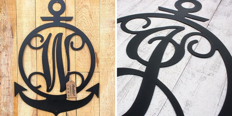 anchor initial monogram wall art
