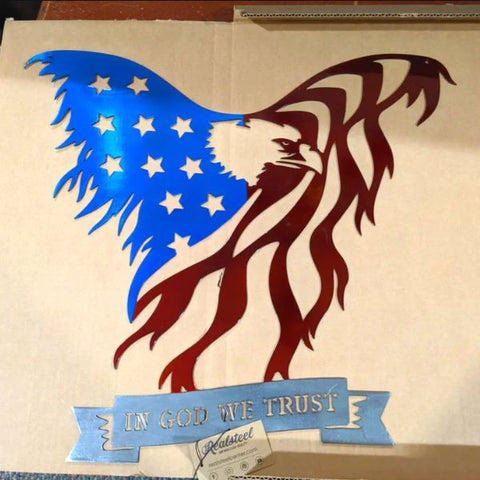 American Flag Steel Eagle Wall Art