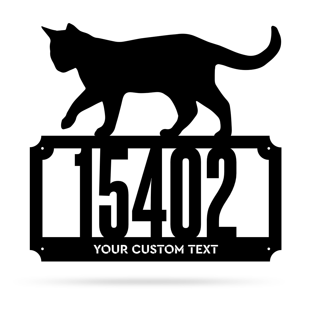 "2 Line Cat Address Monogram 17""x18"" / Black - RealSteel Center"