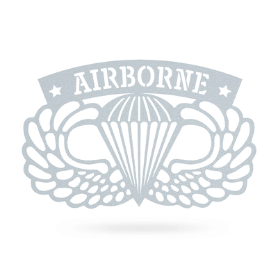 "Airborne Emblem Wall Décor 18""x11"" / Textured Silver - RealSteel Center"
