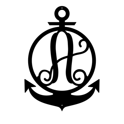 "Anchor Initial Monogram 24""x17"" / Black / A - RealSteel Center"