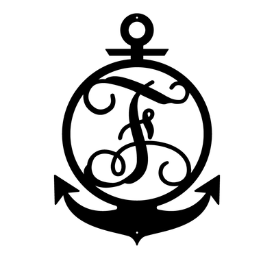 "Anchor Initial Monogram 24""x17"" / Black / F - RealSteel Center"