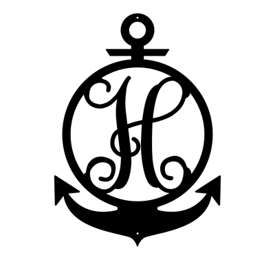 "Anchor Initial Monogram 24""x17"" / Black / H - RealSteel Center"