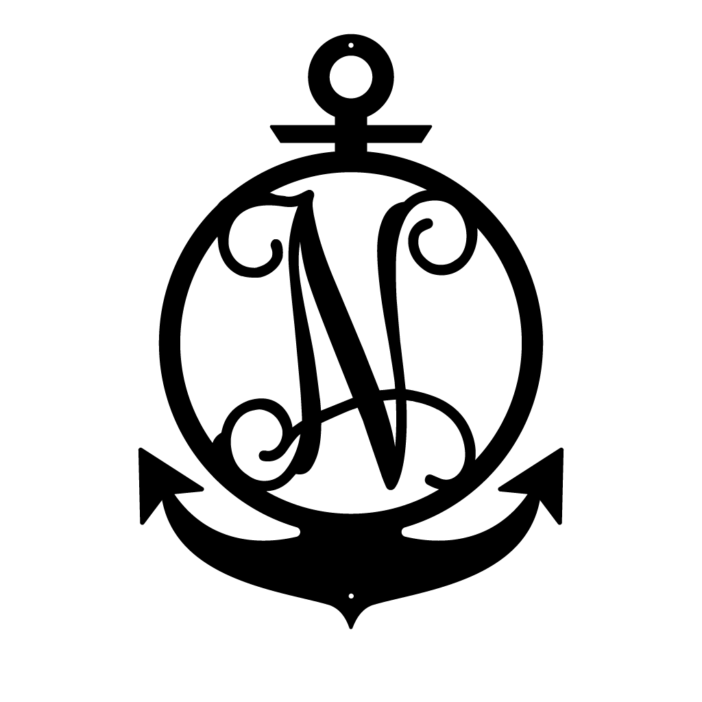 "Anchor Initial Monogram 24""x17"" / Black / N - RealSteel Center"