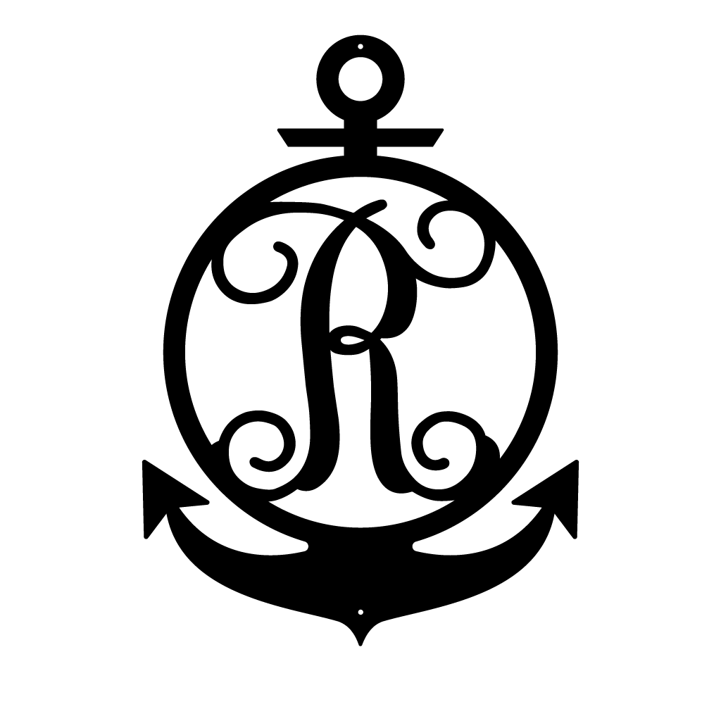 "Anchor Initial Monogram 24""x17"" / Black / R - RealSteel Center"