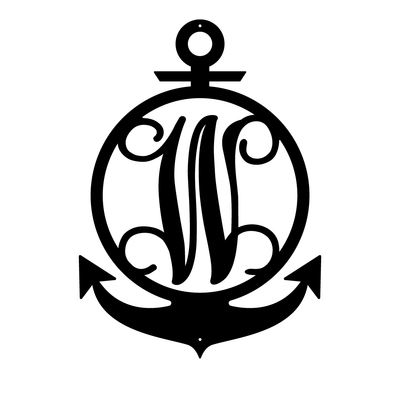 "Anchor Initial Monogram 24""x17"" / Black / W - RealSteel Center"