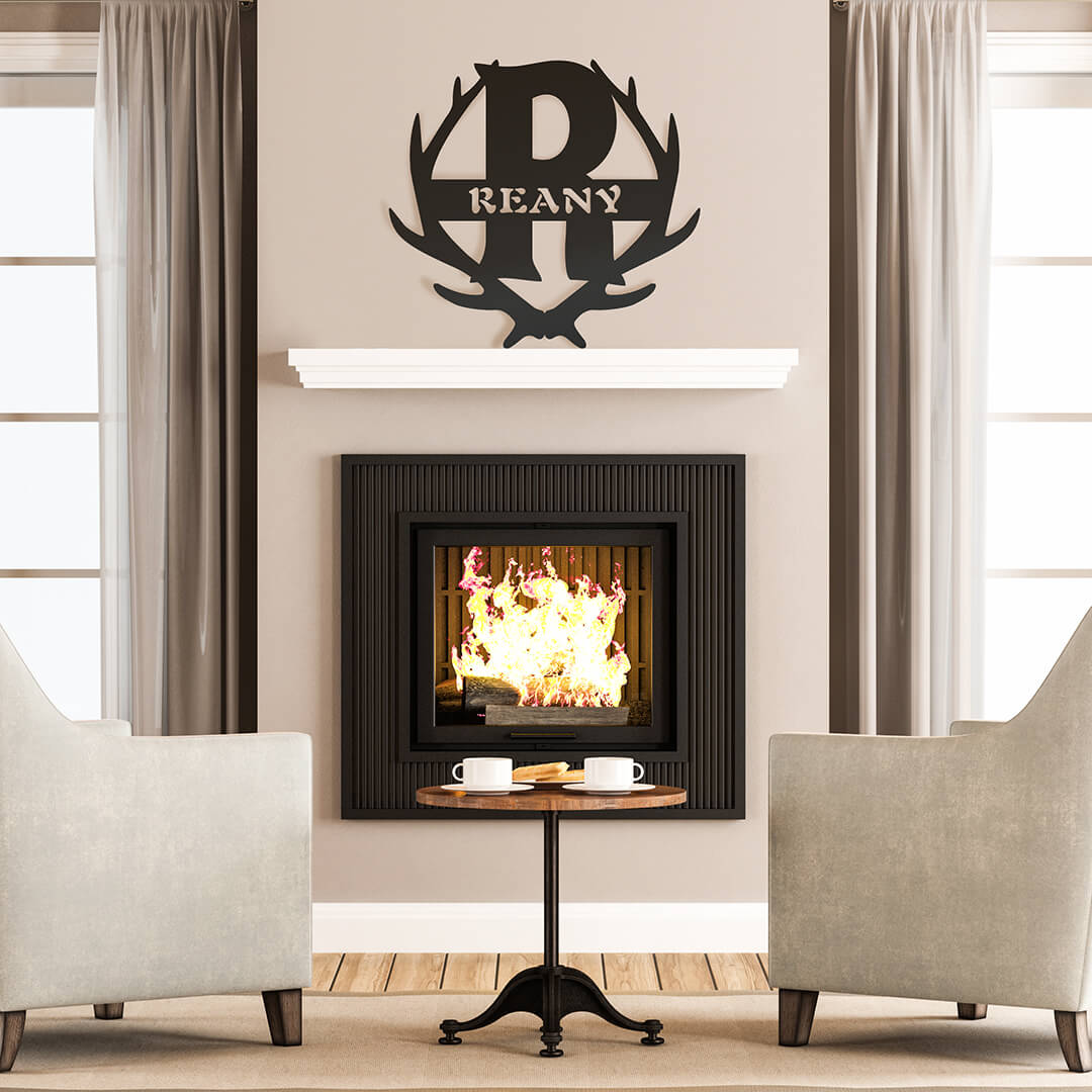 "Antler Monogram Wall Décor 16"" / Black - RealSteel Center"