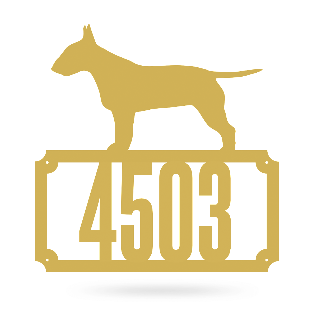 "Bull Terrier Home Number Monogram 18""x18"" / Gold - RealSteel Center"