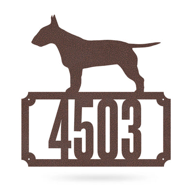 "Bull Terrier Home Number Monogram 18""x18"" / Penny Vein - RealSteel Center"