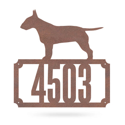 "Bull Terrier Home Number Monogram 18""x18"" / Rust - RealSteel Center"
