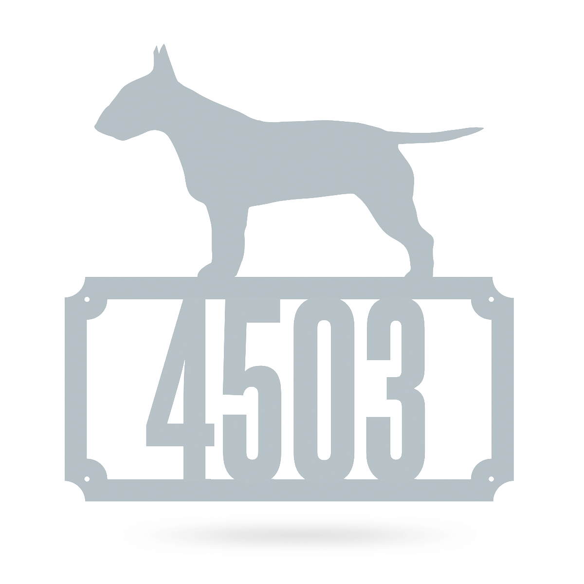 "Bull Terrier Home Number Monogram 18""x18"" / Textured Silver - RealSteel Center"
