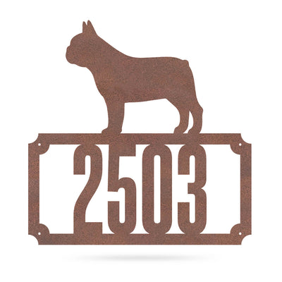 "Bulldog Home Number Monogram 18""x18"" / Rust - RealSteel Center"