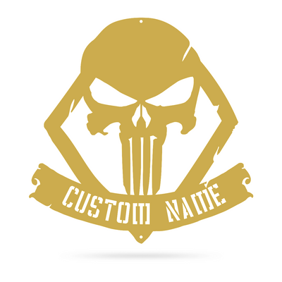 "Distressed Skull Monogram Sign 18""x18"" / Gold - RealSteel Center"
