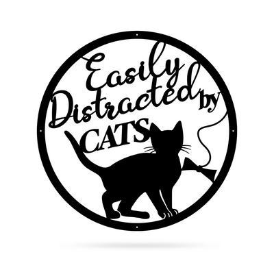 "Easily Distracted By Cats Wall Art 18"" / Black - RealSteel Center"