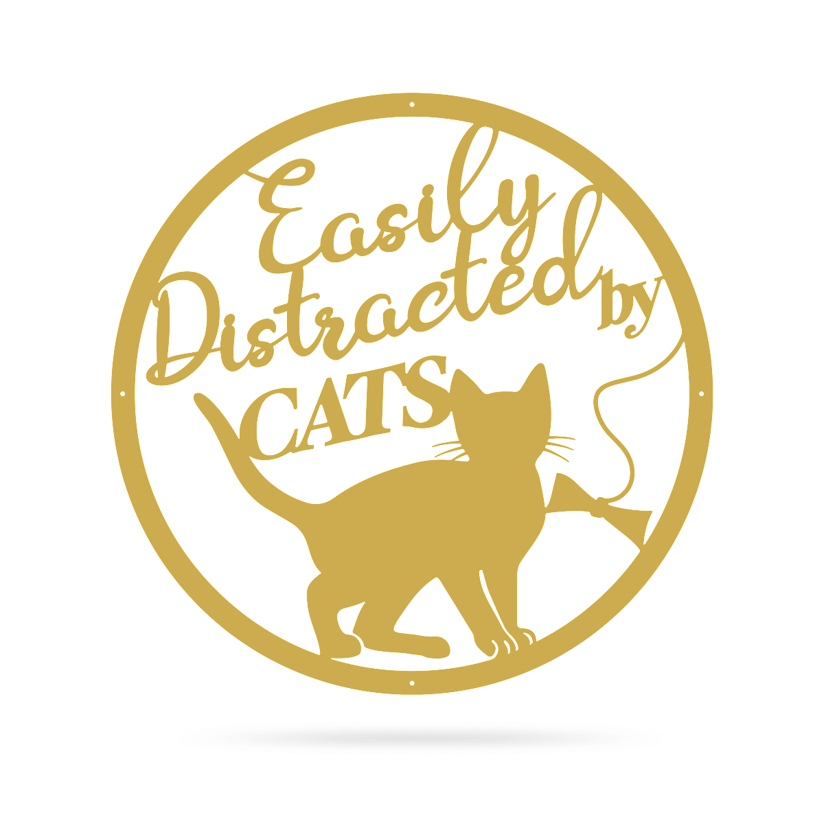 "Easily Distracted By Cats Wall Art 18"" / Gold - RealSteel Center"