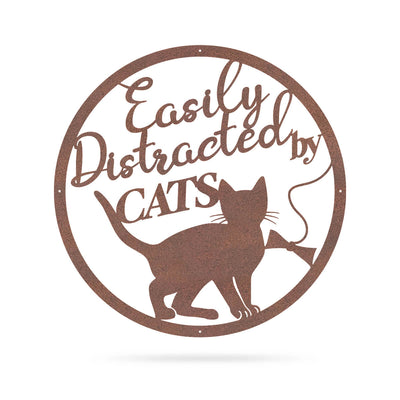 "Easily Distracted By Cats Wall Art 18"" / Rust - RealSteel Center"