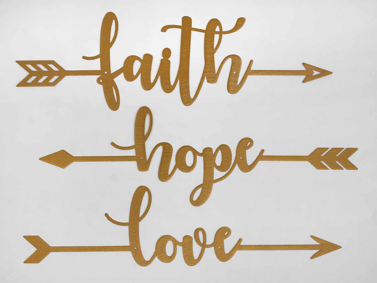 "Faith Hope Love Arrows 18"" / Gold - RealSteel Center"