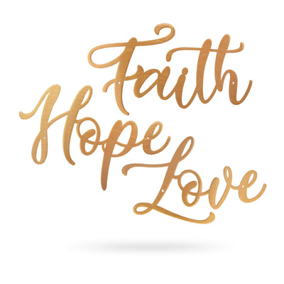"Faith Hope Love 18"" / Gold - RealSteel Center"