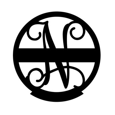 "Family Name Monogram 18"" / Black / N - RealSteel Center"