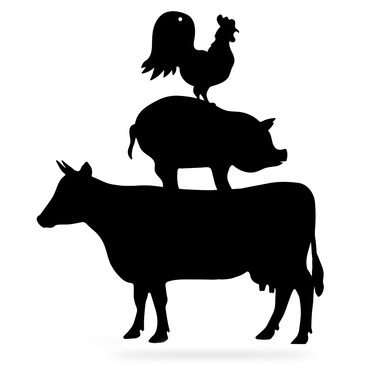 "Farmyard Friends Wall Art 12""x14"" Cow - Pig - Rooster / Black - RealSteel Center"