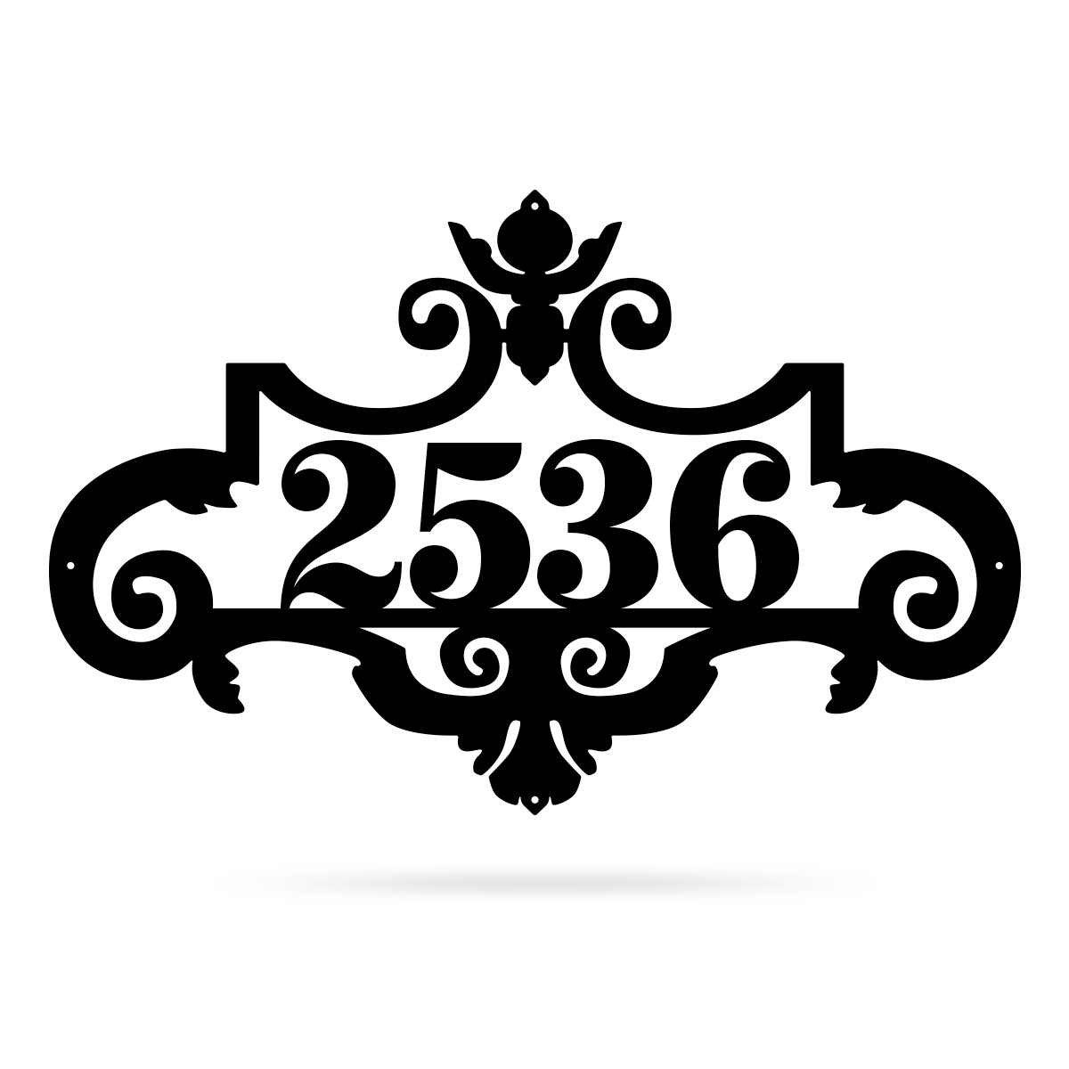 "Ornate Address Monogram 15.5""x24"" / Black - RealSteel Center"