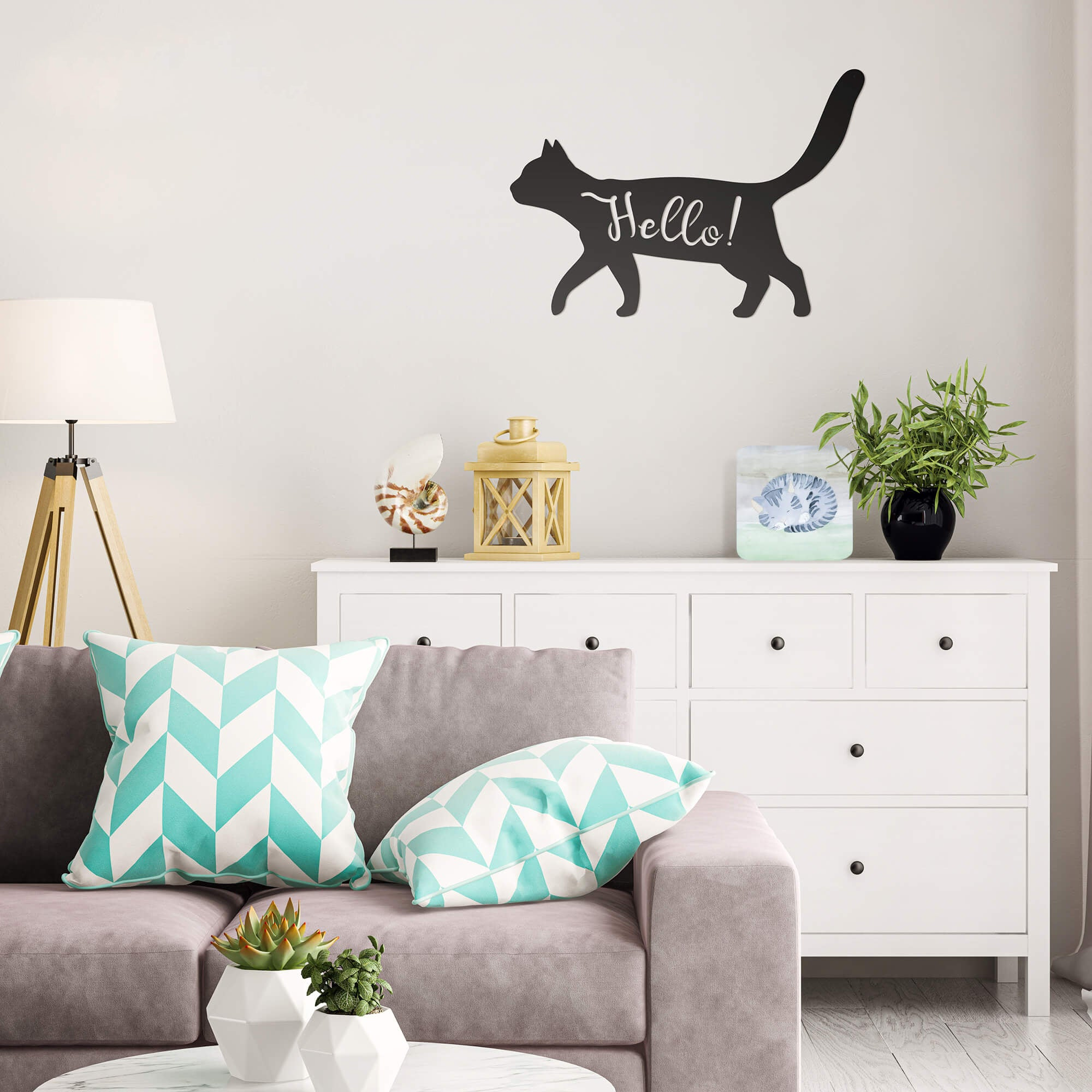"Friendly Cat Wall Art 12.5""x18"" / Black - RealSteel Center"