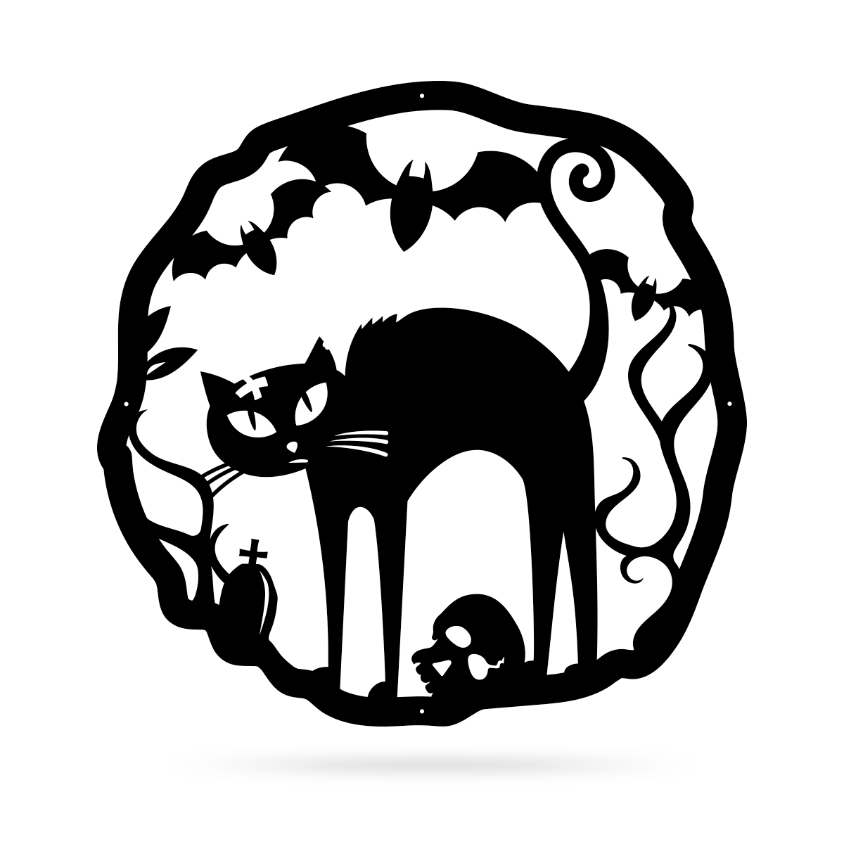 "Halloween Cat Wreath 18"" / Black - RealSteel Center"