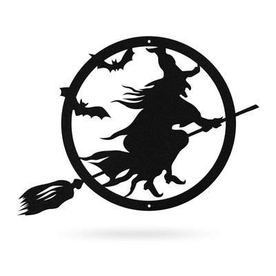 "Halloween Witch Riding Broom 24""x18"" / Black - RealSteel Center"