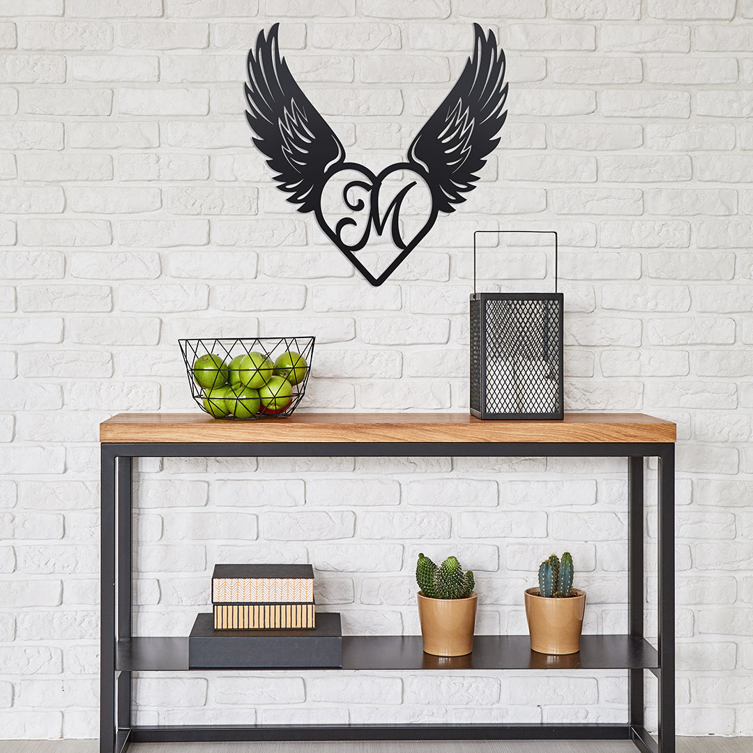 "Heart with Angel Wings Monogram 18"" X 18"" / Black / A - RealSteel Center"