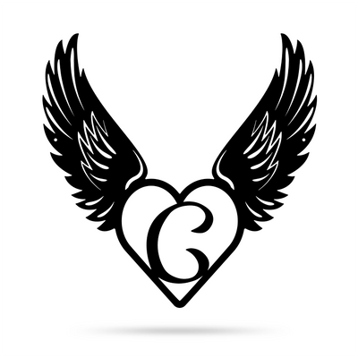 "Heart with Angel Wings Monogram 18"" X 18"" / Black / C - RealSteel Center"