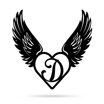 "Heart with Angel Wings Monogram 18"" X 18"" / Black / D - RealSteel Center"