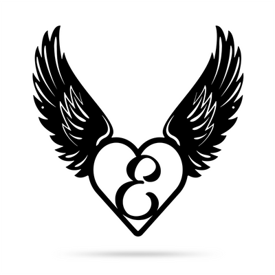 "Heart with Angel Wings Monogram 18"" X 18"" / Black / E - RealSteel Center"