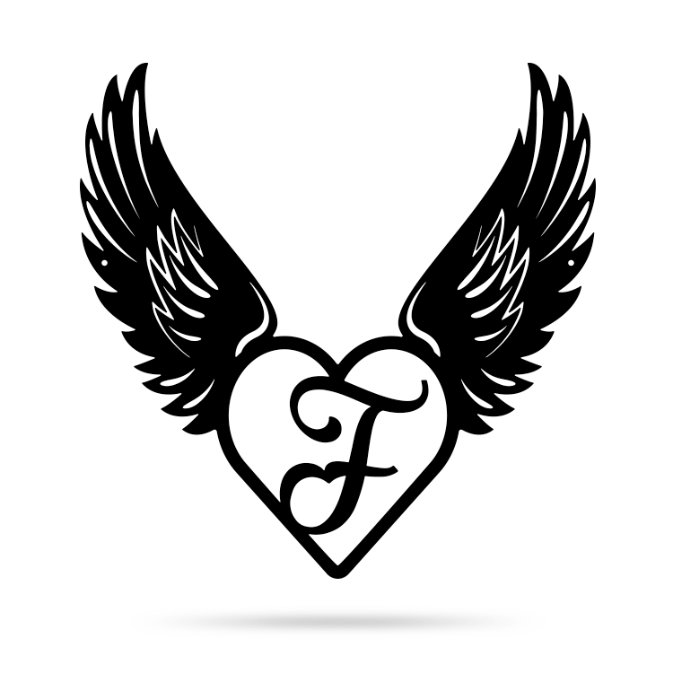 "Heart with Angel Wings Monogram 18"" X 18"" / Black / F - RealSteel Center"