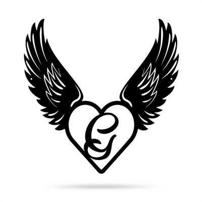 "Heart with Angel Wings Monogram 18"" X 18"" / Black / G - RealSteel Center"