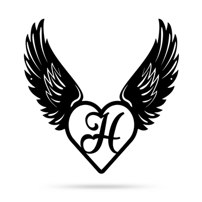 "Heart with Angel Wings Monogram 18"" X 18"" / Black / H - RealSteel Center"