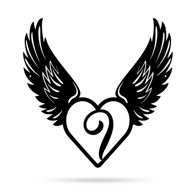 "Heart with Angel Wings Monogram 18"" X 18"" / Black / I - RealSteel Center"