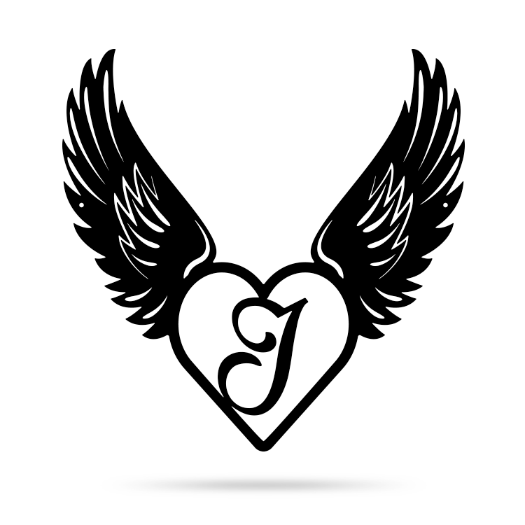"Heart with Angel Wings Monogram 18"" X 18"" / Black / J - RealSteel Center"