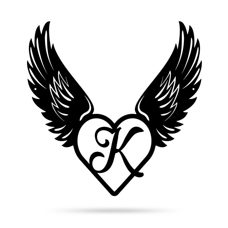 "Heart with Angel Wings Monogram 18"" X 18"" / Black / K - RealSteel Center"