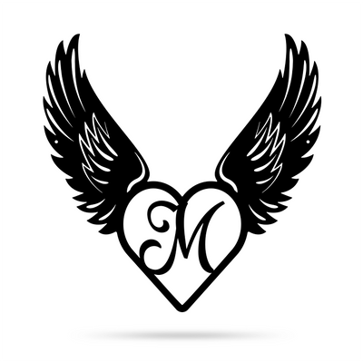 "Heart with Angel Wings Monogram 18"" X 18"" / Black / M - RealSteel Center"