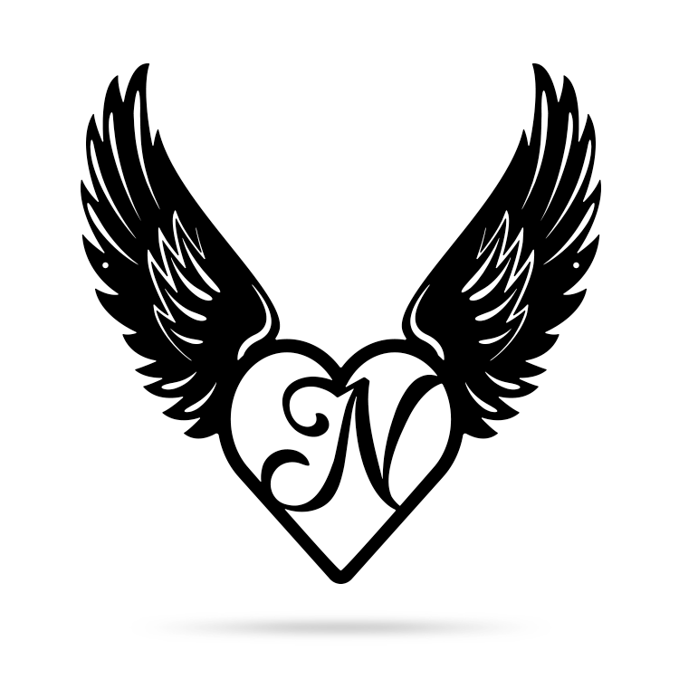 "Heart with Angel Wings Monogram 18"" X 18"" / Black / N - RealSteel Center"